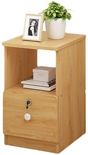 File cabinets Nachttisch, Nachttisch, Schlafzimmer, Haushalt, mit Schloss, Aufbewahrungsbox, sehr schmal, Spind, Nachttisch, Flur, Beistelltisch (Farbe: Holzfarbe, Größe: 25 x 39 x 50 cm)
