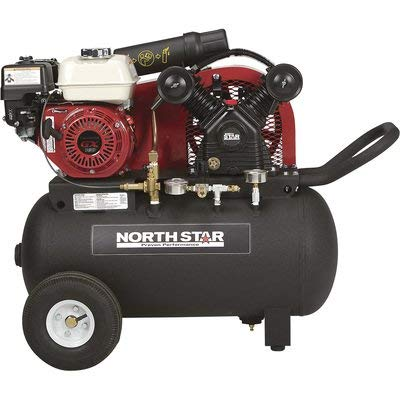 NorthStar Portable Gas-Powered Air Compressor - Honda 163cc OHV Engine, 20-Gallon Horizontal Tank, 13.7 CFM at 90 PSI