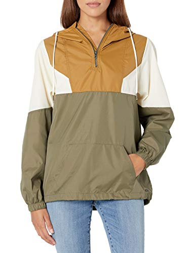 Volcom Junior's Wind Stoned Quarter Zip Windbreaker Jacket, Vintage Gold, Medium