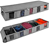 Stockyfy Under Bed Storage Containers with dividers, 5.9'' Tall and Fits Beds 6'' Off The Floor, with Sturdy Sidewalls and Bottom Underbed, Breathable Clear Side Window for Clothes, Shoes, Sweaters,...