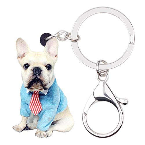 WEVENI Acrylic French Bulldog Keychains Pet Keyring For Women Girls Bag Car Wallet Charms