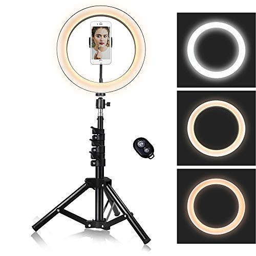 10 inch Ring Light with Stand, Camera Lights with Cell Phone Holder for YouTube Makeup Video, 3...