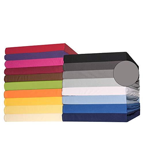 CelinaTex Lucina Topper Spannbettlaken 180x200-200x200 cm dunkel grau Baumwolle Spannbetttuch