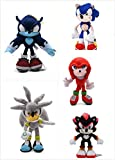 YUNMEI Sonic el Erizo 5pcs/Lote Sonic Toys 19-25cm Sonic Shadow Amy Rose Knuckles Tails Plush Toys S...