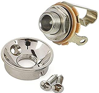 Electrosocket Jack Plate for Telecasters - Polished Chrome Finish + Switchcraft J11 Mono Jack