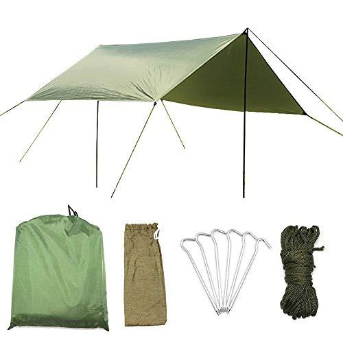 AUWOO 防水タープ 軽量 日除け サンシェルター ポータブル 天幕 シェード キャンプ 収納ケース付 2-6人用 アーミーグリーン