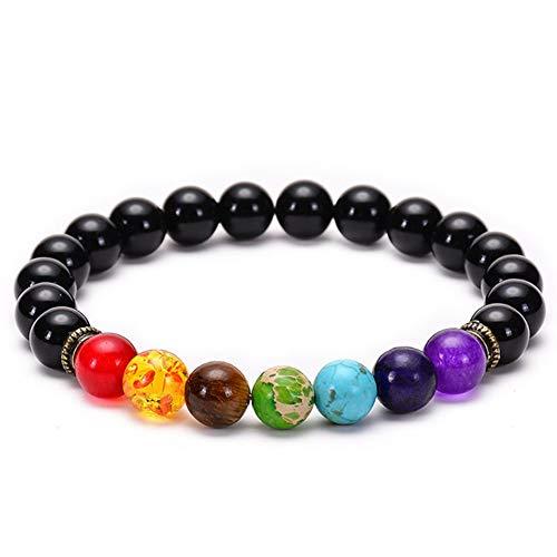 Wacelethh Premium 7 Chakren Armband Mit Echten Energiesteinen Zen-Buddhismus Armreif Energietherapie Yoga-Armband Für Damen Und Herren, D