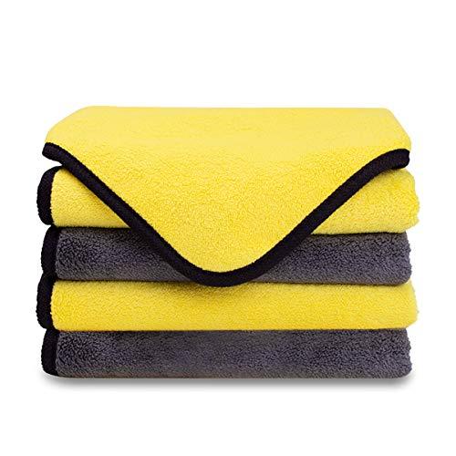 MATEPROX Toallas de Microfibra para Limpieza de Autos, Super Absorbente Doble Capa Coche paños Toalla para Coche Pulido y Secado, 4 Unidades