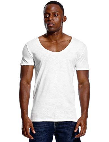 Cuello en V profundo camiseta para hombres corte bajo Scoop Tee invisible Vee Top algodón manga corta cuello ancho