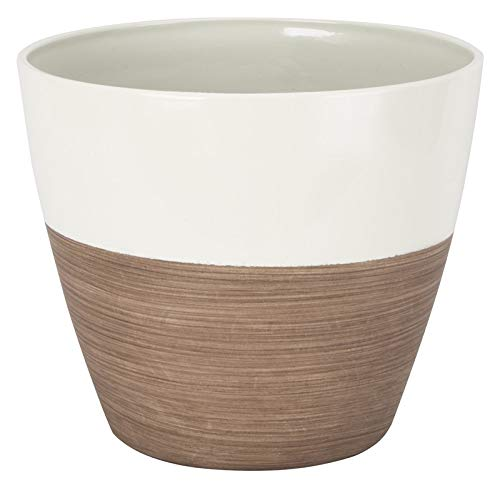 """Rocky Mountain Goods Planter Pot - Round Durable Resin 8"""" Pot - UV Coated Finish to Prevent Fading - Modern Look Flower Pot for Patio, Porch, Outdoor or Indoor (8', Ivory/Wood)"""