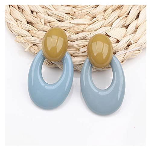 QWEQWE Pendientes de Gota de Resina para Mujer Declaración de Rayas Triángulo corazón Colgante Pendiente joyería de Boda (Metal Color : Blue)