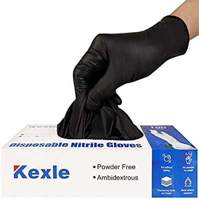Nitrile Disposable Gloves Pack of 100, Latex Free Safety Working Gloves for Food Handle or Industrial Use (Black, Large)
