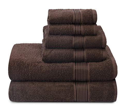 GLAMBURG Juego de 6 Toallas de algodón Ultra Suaves, Contiene 2 Toallas de baño de 70 x 140 cm, 2 Toallas de Mano de 40 x 60 cm y 2 paños de Lavado de 30 x 30 cm, Color marrón