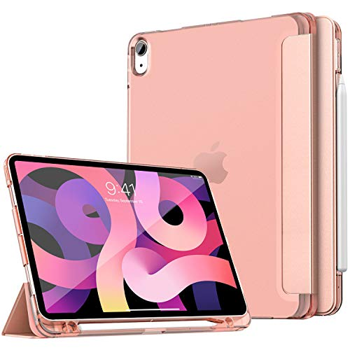 Dadanism iPad Air 4th Generation Case 2020 iPad 10.9 Case with Apple Pencil Holder, Slim Smart Shell Stand Soft TPU Translucent Frosted Back Cover for iPad Air (4th Gen) 10.9' 2020, Rose Gold
