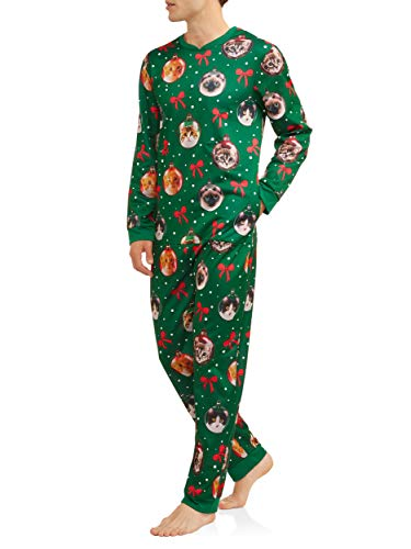Cat Mens Lighted Ugly Christmas Sweater Minky Fleece Union Suit Pajamas (X-Large 46-48) Green