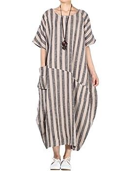 Mordenmiss Women s Cotton Linen Dress Stripes Plus Size Dresses Style 2-M-Gray