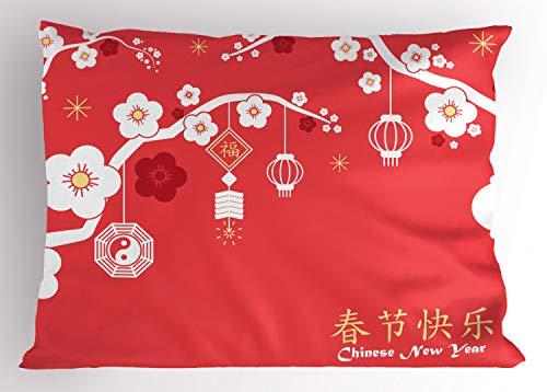 ABAKUHAUS Chinees Nieuwjaar Siersloop voor kussen, Lantaarns op Boom Sakura, standaard maat bedrukte kussensloop, 75 x 50 cm, Pale Yellow Dark Coral