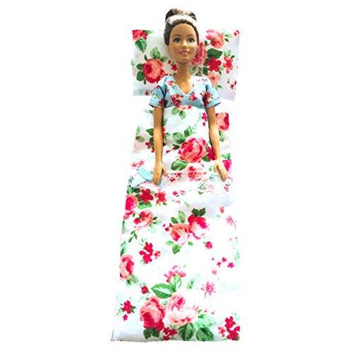 Emily's Boutique 4-teiliges Pyjama-Set für Barbie/Cindy/Große Puppen, mit passender Bettdecke und Kissen (handgefertigt in Großbritannien)