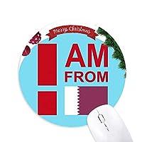 私はカタールです クリスマスツリーの滑り止めゴム形のマウスパッド