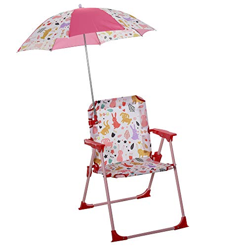 Outsunny Kinder-Campingstuhl mit Sonnenschirm Kinder-Strandstuhl Klappstuhl für 1-3 Jahre leichte Gewicht Metall Rot 39 x 39 x 52cm