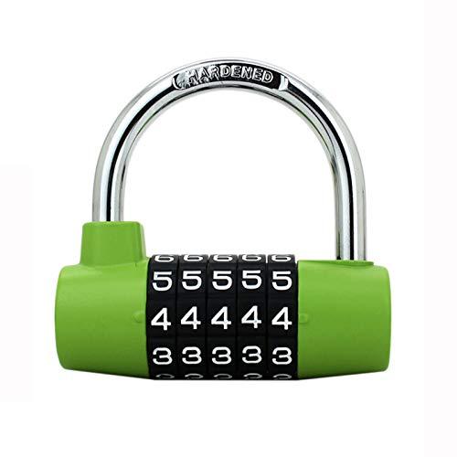 QQYYY Small Locker Cabinet Door Handles Combination Lock 5 Digit Combination Padlock Padlock Combination Lock Safety Padlock, U Type Code Lock, for Luggage Locker, Wardrobe, Gym Locker,Green