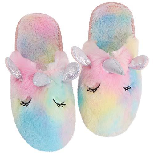 Sanfiago Rainbow unicornio Women \'s pantuflas confort felpa memoria espuma antideslizante suela de Goma zapatillas domésticas