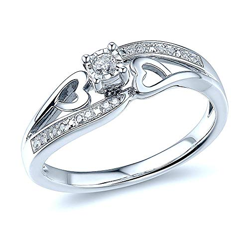 Diamond Promise Ring Sterling Silver 1/10 cttw - Ring Size 8