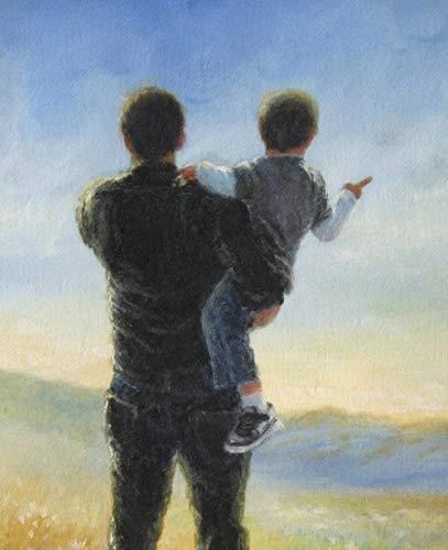 Pintura a óleo DIY por kits de números para crianças e adultos Desenho iniciante com pincéis Presentes de decoração para casa -Pai abraça filho 40x50cm (sem moldura)