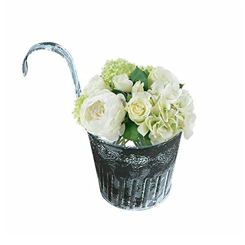 WGDPMGM hängande blomkruka 1/3 / 5pcs Blomsterkrukor med krokar för hängande balkong trädgårdsstängsel Växter metalljärnblomma pott dekoration (Color : 5pcs)