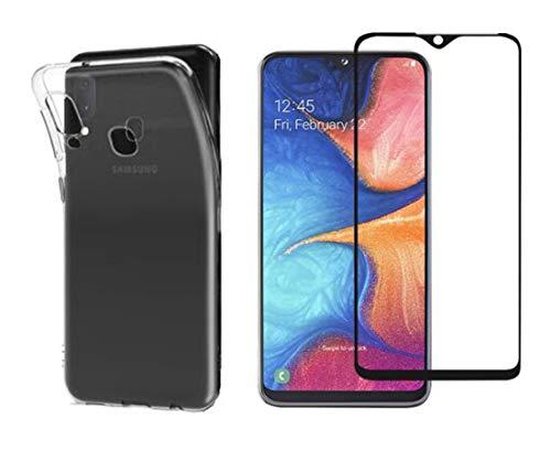 Novago kompatibel med Samsung Galaxy A20E A202 – mjukt och robust skyddsfodral + 1 skärmskydd av härdat glas, okrossbart (1 skyddande fodral 1 skärmskydd, transparent)