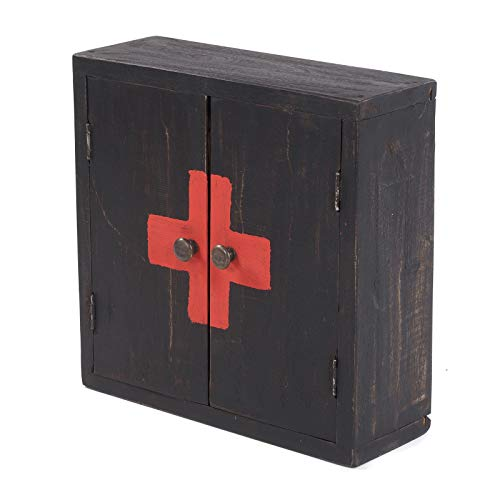 """Armadietto per le medicine, modello """"Medic 35"""", 35 x 35 x 13 cm (altezza x larghezza x profondità), in mogano, armadietto da parete in stile shabby ch"""