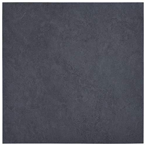 vidaXL Lamas para Suelo Autoadhesivas Baldosa Duradero Sólidas y Uniformes Textura Natural Auténtica de Gran Calidad de PVC Mármol Negro 5,11 m²