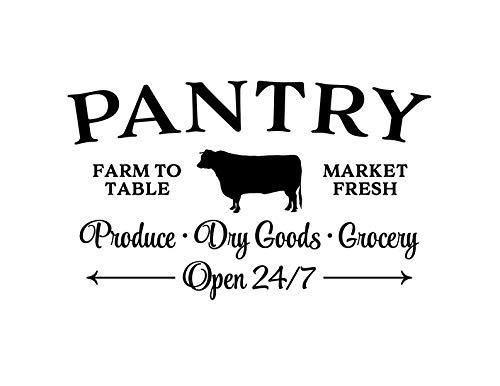 Vinyl Wall Decal Pantry, Farm To Table Market Fresh Produce Dry Goods Grocery, Open 24/7 Glass Door,Kitchen Door,12x20 Inch