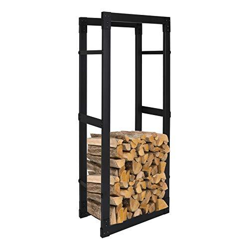 wolketon Kaminholzregal Brennholzregal 100x40x25CM Maximale Belastung: 100 kg Feuerholzregal Kaminholzständer Kaminholzhalter mit Rutschfestem Pad schwarz