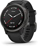 Garmin fenix 6S Sapphire, Premium Multisport GPS Watch, Smaller-Sized, Features Mapping, Music, Grade-Adjusted Pace Guidance and Pulse Ox Sensors, Carbon Gray DLC with Black Band