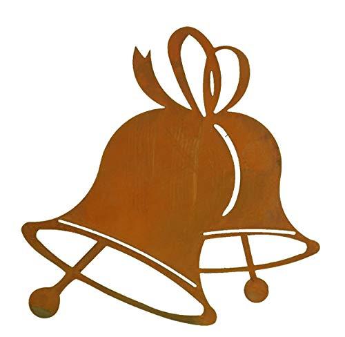 Rostikal | Edelrost Glocken zum Hängen, Weihnachtsdeko mit Pfiff zum selbst gestalten | 15 x 15 cm