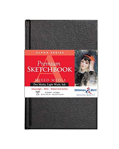 Stillman & Birn Alpha Series Hardbound Sketchbook, 5.5' x 8.5', 150 GSM (Heavyweight), White Paper, Medium Grain Surface