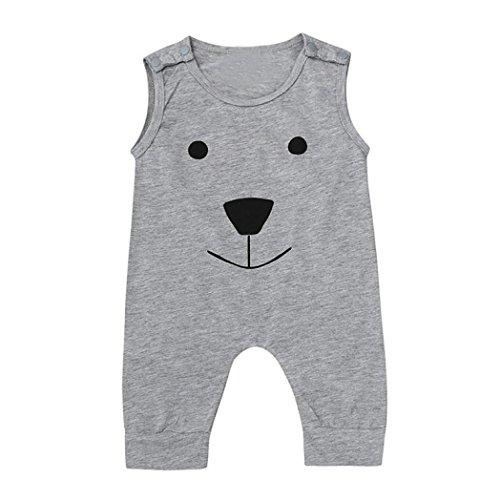Bluestercool Ours Jumpsuit Romper Outfits Vêtements pour Bébé Filles et Garçon (3M, Gris)