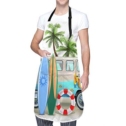 Ajustable Personalizado Delantal Impermeable,Concepto de fin de semana de surf con elementos de buceo, aletas, snorkel y viaje en furgoneta, relajar la paz,Babero de Cocina Vestido con 2 Bolsillos