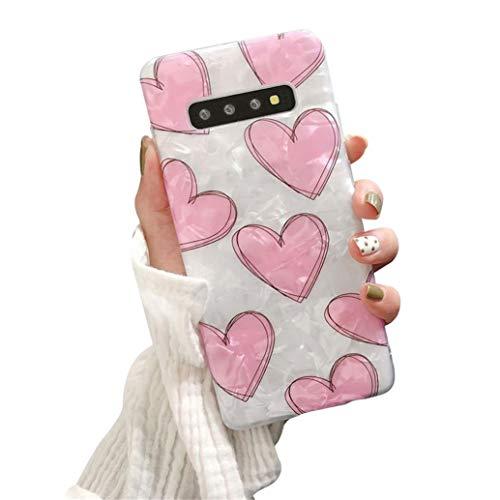 Hishiny Cover Galaxy S10, Cover Galaxy S10 Plus Custodia Protezione in Morbida Silicone TPU Caso [AntiGraffio, Antiurto] Case Copertura Protezione Bumper per Galaxy S10 Lite (S10 Plus, Rosa Heart)