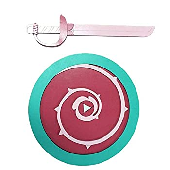 AllTru2U Child Sized Steven Universe Wooden Toy Sword and Shield for Pretend Play  Cosplay  and Wall Decoration Handmade Rose Quartz Costume Weapons for Kids