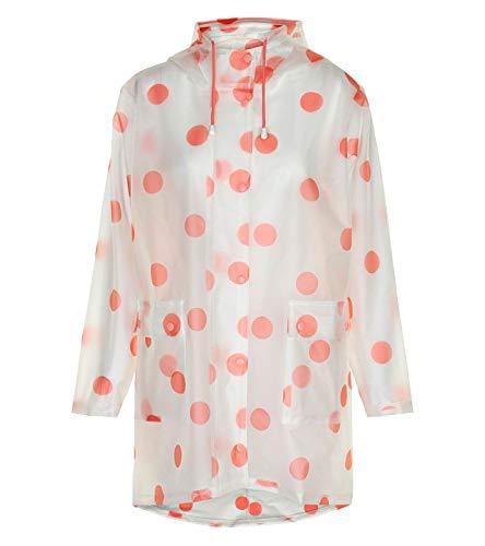 nümph DESI RAIN Coat Regenjacke ausgefallene Damen leichte Herbt-Jacke Jacke Polka Dots transparent Regenmantel Orange, Größe:36