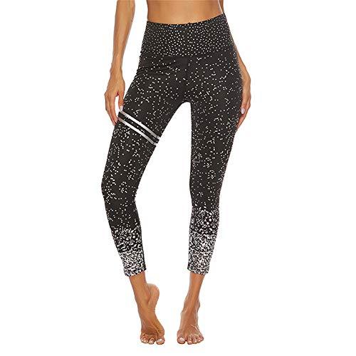 SotRong Mallas Deportivas de Mujer, Mujer Pantalones elásticos de yoga laterales polainas de yoga Fitness Brillantes Negro M