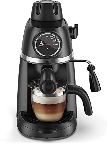 Steam Espresso Machine with Milk Frother, 1-4 Cup Coffee Maker with Thermometer, Latte Cappuccino Machine Includes Carafe, No Apply to Use Fine Ground Coffee