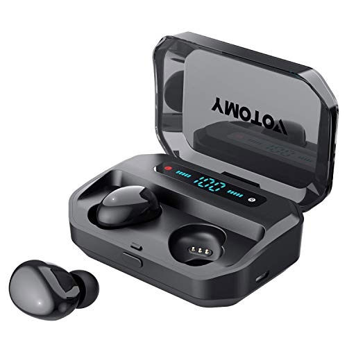 Wireless Earbuds, VOTOMY Bluetooth 5.0 in-Ear Headphones 200 Hrs Playtime, 5D HD Stereo Sound, Mono/Share Mode, IPX7 Waterproof, 3500mAh Charging Case Built-in Mic Sports Earphones for Work and Gym
