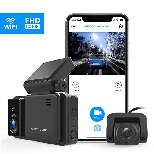 AUTO-VOX WiFi Dashcam Vorne und Hinten, Dual 1080P Autokamera mit Nachtsicht, 3 Zoll IPS Touchscreen mit GPS, G-Sensor, Parküberwachung, Notfallaufnahme, Loop-Aufnahme (AD2)