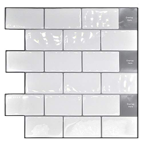Viudecce Peel y Stick Backsplash 10X10 Pulgada Azulejos de Pared de Metro 3D ExtraíBles (Paquete de 4), para Cocina o BaaO