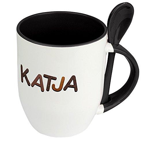 Namenstasse Katja - Löffel-Tasse mit Namens-Motiv Schokoladenbuchstaben - Becher, Kaffeetasse, Kaffeebecher, Mug - Schwarz