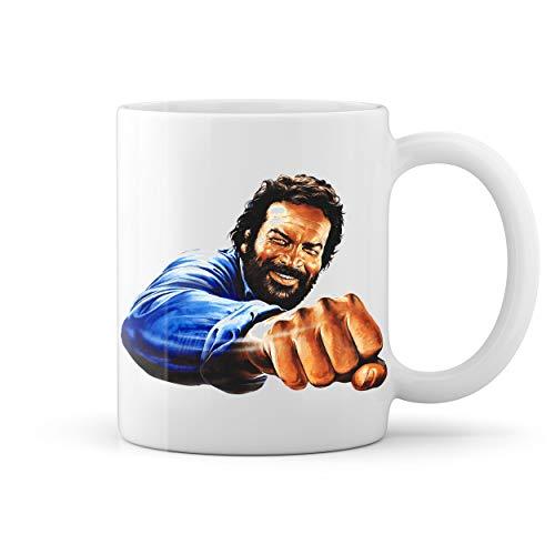 Bud Spencer Punch Bulldozer Retro Weiße Kaffeetasse Mug
