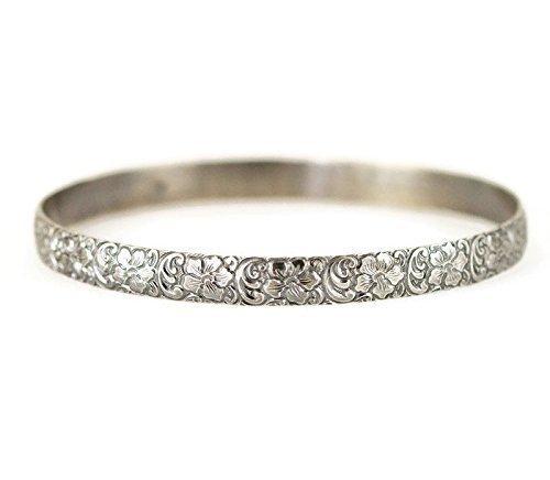 Flower Pattern Wide Bangle - Sterling Floral Bracelet